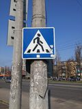 Pedestrian crossing sign Royalty Free Stock Images