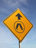 Pedestrian Crossing Sign on Blue Sky background Royalty Free Stock Photo