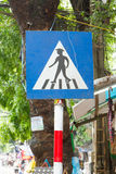 Pedestrian crossing sign in the center of Hanoi Stock Photos