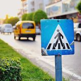 Pedestrian crossing sign close up Royalty Free Stock Photo