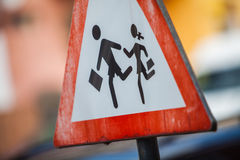 Pedestrian crossing sign detail Stock Photo