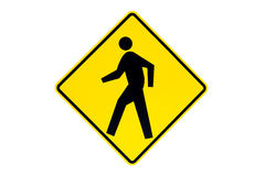 Pedestrian crossing sign isolated. Pedestrian crossing sign (photo) close up isolated on white Stock Photography