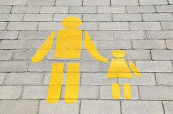 Pedestrian crossing sign on the paving stone Stock Photography