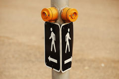 Pedestrian crossing. Sign with push button Stock Images