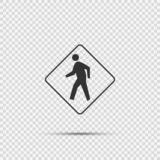 Pedestrian Crossing Sign on transparent background stock illustration