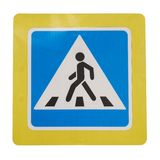 Pedestrian crossing sign with a yellow edging isolated on white. Background from Moscow street royalty free stock image
