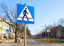 Pedestrian crossing signs on the street Royalty Free Stock Images