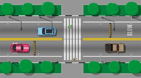Pedestrian crossing with speed bump. Vehicles on road. Cars waiting for people to cross the street. Traffic regulations. Rules of the road. Highway top view Stock Images