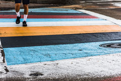 Pedestrian crossing the street Royalty Free Stock Images