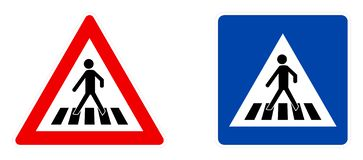 Pedestrian crossing symbol, warning red triangle and information blue square version.  royalty free illustration