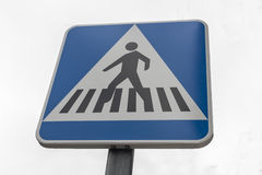 Pedestrian crossing traffic sign pole Stock Photography