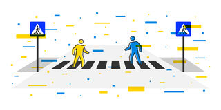 Pedestrian crossing vector illustration Royalty Free Stock Photography