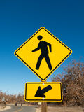 Pedestrian Crossing Vertical Sign Royalty Free Stock Photos