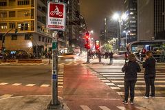 Pedestrian crossings. Sao Paulo, SP, Brazil. August 04, 2016. pedestrian crossings and bicycle lane on the corner of Consolacao Street and Paulista Avenue Stock Photo