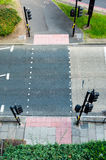 Pedestrian crossings. Top view of pedestrian crossings and traffic lights Royalty Free Stock Photo