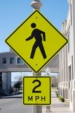 Pedestrian Crosswalk Sign. A bright yellow traffic sign i Royalty Free Stock Photos