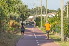 Pedestrian and cycle eco path, in Viseu, Portugal. Pedestrian and cycle eco path, woman with a dog and people walking, background and vegetation, in Viseu stock photography