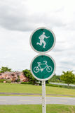 Pedestrian and cycling lane sign Royalty Free Stock Photo
