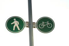 Pedestrian and cycling lane sign Stock Photo