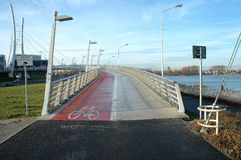 Pedestrian and cyclist bridge. Nearby malta lake in Poznan Poland Stock Photo