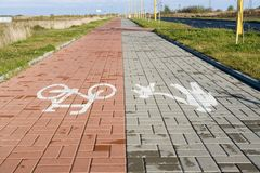 Pedestrian and cyclists paths Stock Photography