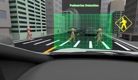 Pedestrian Detection technology, Autonomous self-driving car with Lidar, Radar and wireless signal, 3d rendering. Pedestrian Detection technology, Autonomous vector illustration