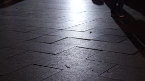 Pedestrian feet's in city low angle view. Pedestrians and cyclist walking in the illuminated city at night - low angle view of people feet's walking in and out stock footage
