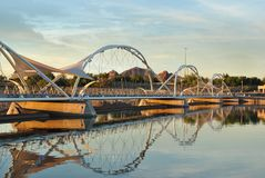 Pedestrian Foot  Bridge  Tempe Beach Park Arizona At sunset. Pedestrian Foot Bridge Tempe Arizona next to Mill Avenue with mountains behind and sunset and salt Stock Photo
