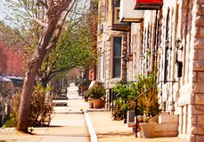 Pedestrian footpath at Baltimore streets in spring stock photo