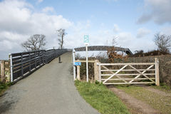 Pedestrian footpath and shared cycleway over a railway line Royalty Free Stock Photo