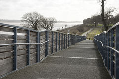 Pedestrian footpath and shared cycleway over a railway line Stock Images