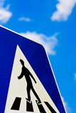 Pedestrian Footpath Sign. Pedestrian Traffic Sign on a Blue Sky Background Stock Photo