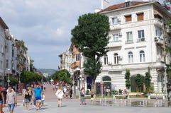 Pedestrian boulevard in Varna, Bulgaria. Pedestrian friendly Knyaz Boris boulevard in Varna in Bulgaria Royalty Free Stock Images