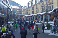 Pedestrian friendly Whistler Village. A popular skier's destination during winter month. British Columbia, Canada Royalty Free Stock Photos