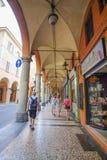 Pedestrian gallery in a center of Bologna Stock Image