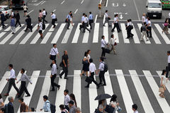 Pedestrian go via the street Royalty Free Stock Photo