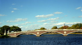 Pedestrian Harvard Bridge in Boston Massachusetts on Charles river with Harvard Campus in the background on a sunny day Stock Photos