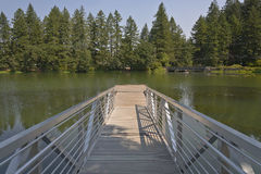 Pedestrian ladder and platform on a lake. Royalty Free Stock Photography