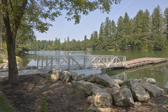 Pedestrian ladder and platform on a lake. Stock Photos