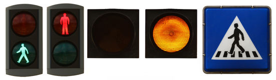 Pedestrian lights. A mix of pedestrian lights Royalty Free Stock Images