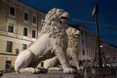 Pedestrian Lion bridge in St. Petersburg, Russia Royalty Free Stock Image