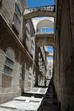 Pedestrian at narrow streets of old Jerusalem Royalty Free Stock Images