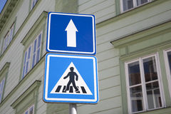 Pedestrian and One Way Sign Royalty Free Stock Image
