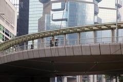 Pedestrian overpass in Hong Kong Stock Photo