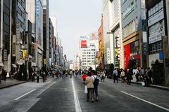 'Pedestrian Paradise' in Ginza, Tokyo Royalty Free Stock Image