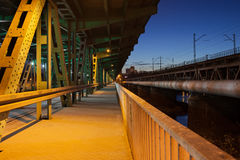 Pedestrian Path on a Bridge at Night Stock Photo