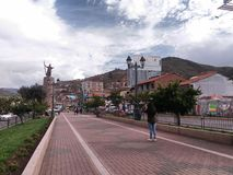 Pedestrian path with Inca monument stock images