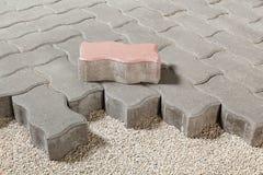 Pedestrian path with paver bricks. Sidewalk pavement Stock Photo