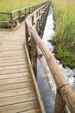 Pedestrian path on wooden poles Royalty Free Stock Photo