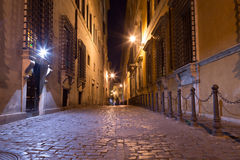 Pedestrian Paths between Buildings in Central Rome at Night Royalty Free Stock Photos